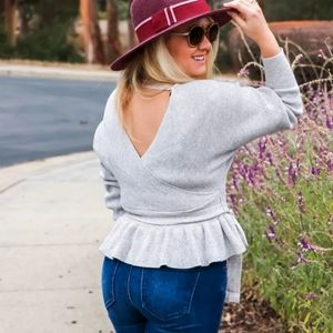 New Sexy Wrap Open Back V Neck Peplum Sweater